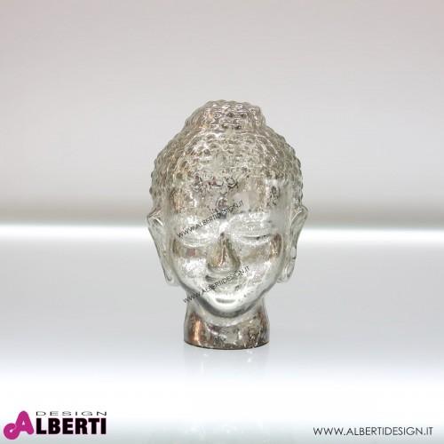 Testa Buddha in vetro argento Ø13xH20