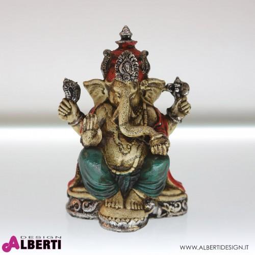 Ganesha seduta rosso/verde 16x11xH25 cm