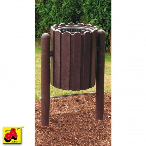 Cestino rifiuti Scori 63x42x132  con base e contenit.ribaltabile  marrone pvc riciclato