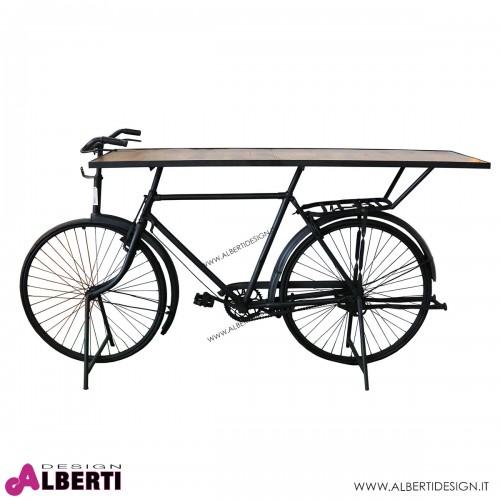 Tavolo su base bicicletta nera 210x50xh108 cm