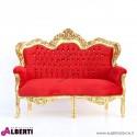 Divano Milano oro/rosso con strass 2 posti in alcantara 155x80x125 cm