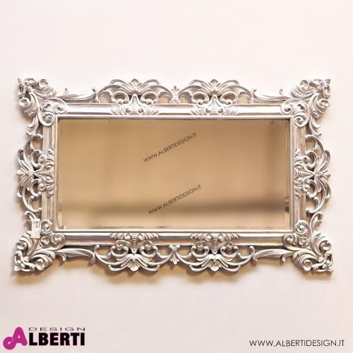 Specchio barocco foglia argento 130x3x80 cm lavorato a mano
