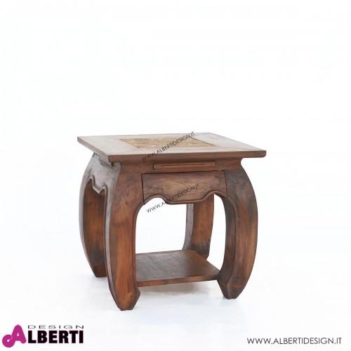 Tavolino Opium in legno di teak con cassetto con top in pietra 46x46x50 cm