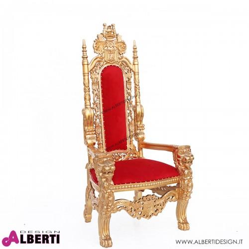 Trono barocco oro/rosso con leoni con bottoni simil swarosky 90x70x180