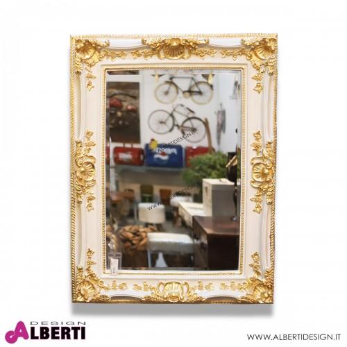 Specchio barocco crema/oro in resina 90x4x120 cm