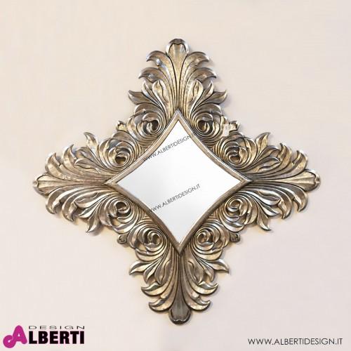Specchio barocco argento in legno 120x120cm