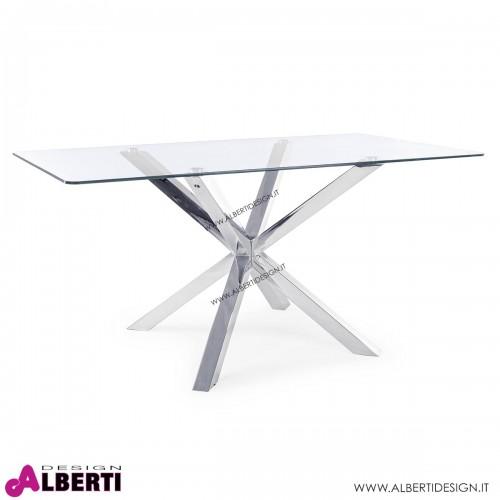 Tavolo May rettangolare in vetro base acciaio 160x90H76 cm