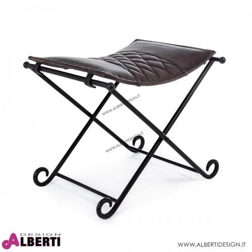 Sgabello Anika telaio in metallo e seduta in pelle 54x39H47 cm