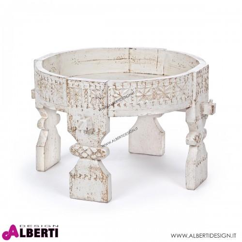 Tavolino Yasir in legno bianco D50H35 cm