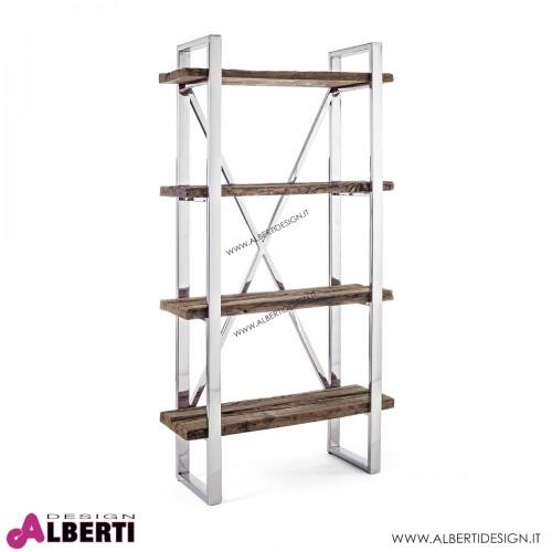 Libreria Stanton metallo cromato e legno 90x35H180 cm