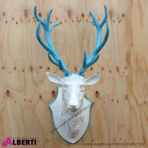 Testa cervo bianco/azzurro 110 cm