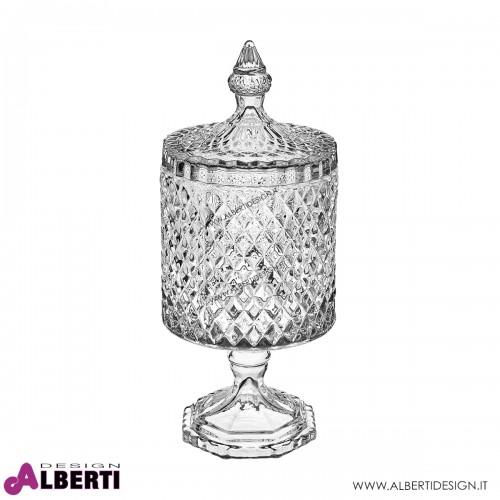 Vaso in vetro con coperchio in stile Bohemia H27 D10,5 cm