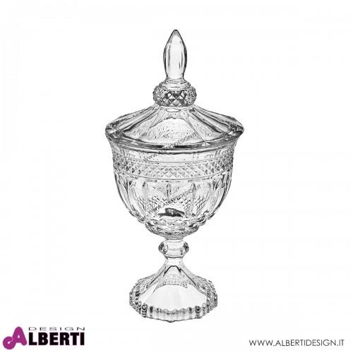 Coppa in vetro trasparente con coperchio H25 D11,5 cm