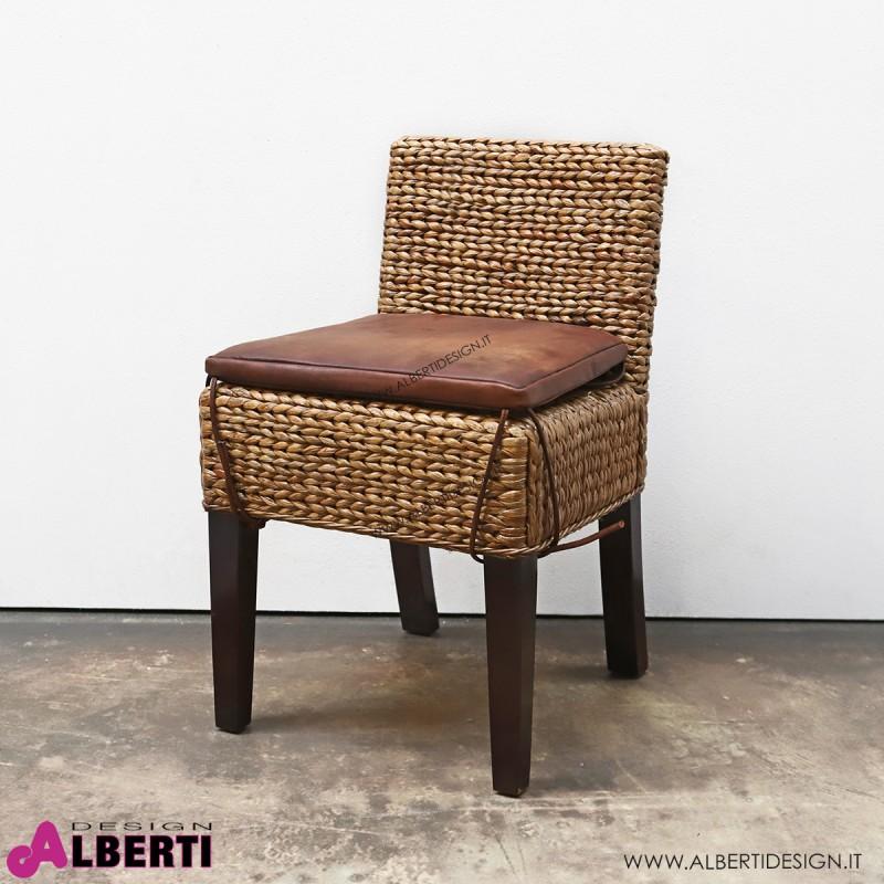 Sedia schienale basso in giacinto d'acqua 43x53x75 cm