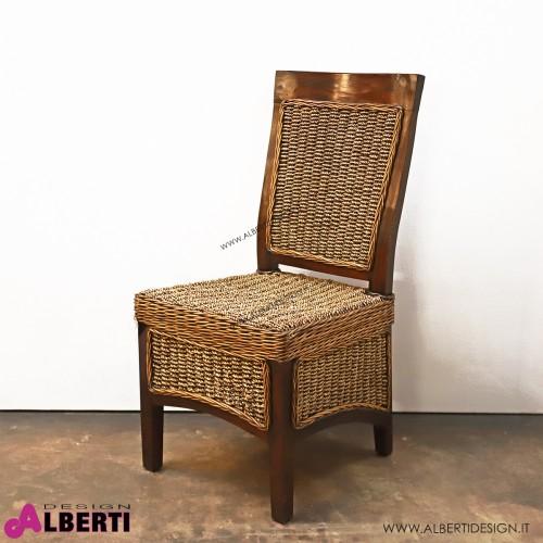 Sedia in legno intrecciata con cuscino 48x56x97 cm