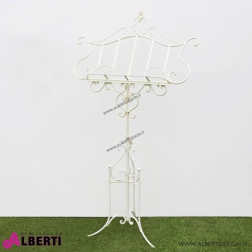 Leggio bianco in metallo L85xP50xH140 cm