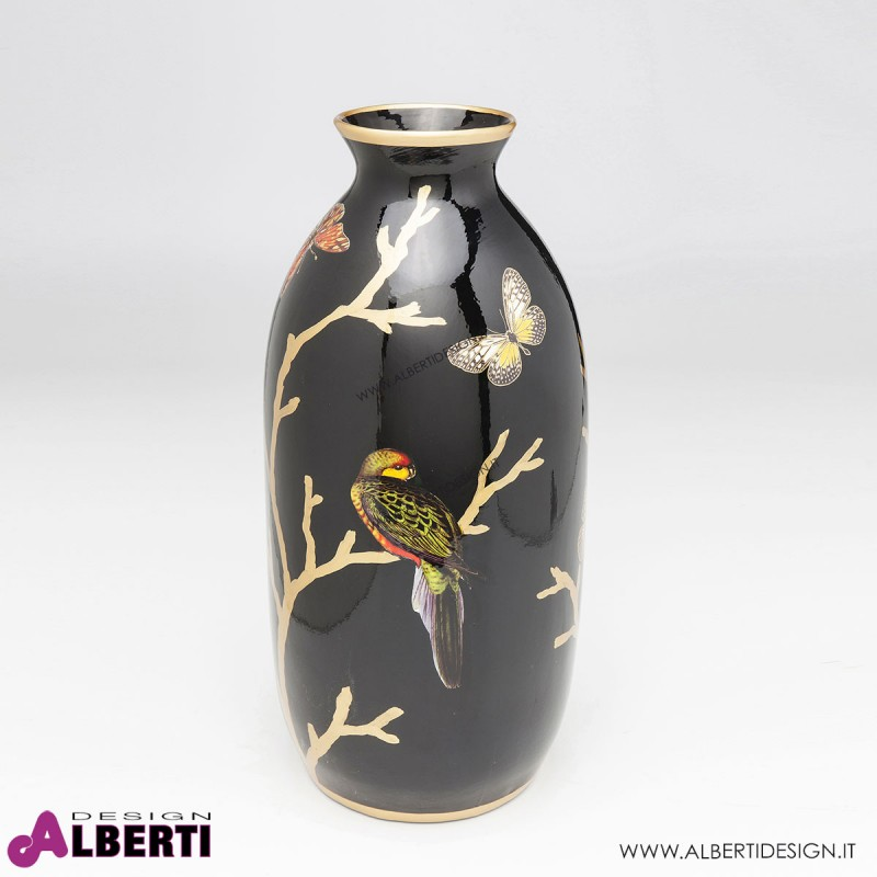 Vaso decorato in porcellana con pappagallo D 21x44 cm