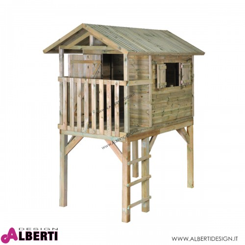 Casetta rialzata a palafitta per bambini HANK, P242xL150xH280cm in legno
