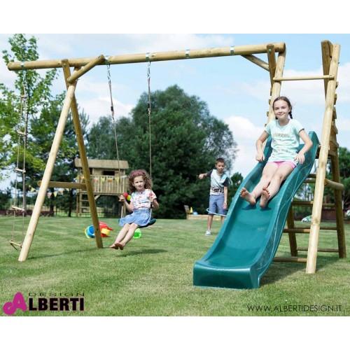 Gioco per bambini ANTON MINI 384x206x225 con scivolo scaletta e seggiolini