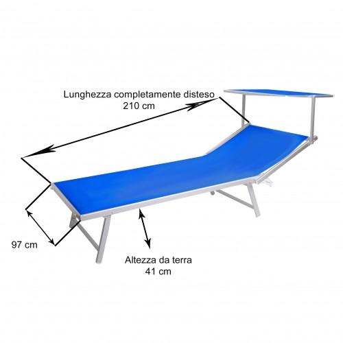 Lettino Cefalù XXL blu 210x97x41 cm