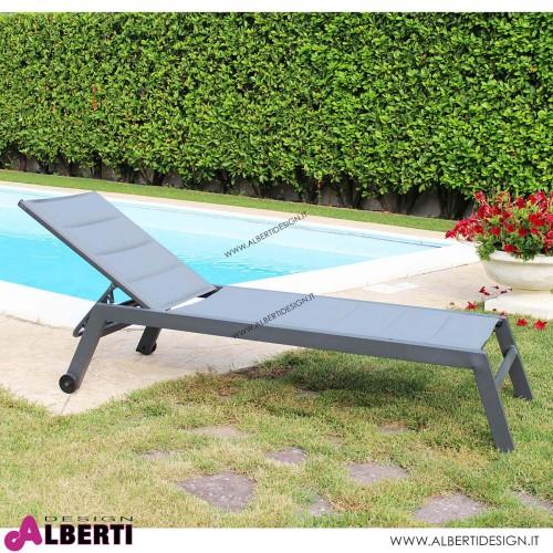Lettino Formentera impilabile color antracite 198x61x34/95h cm