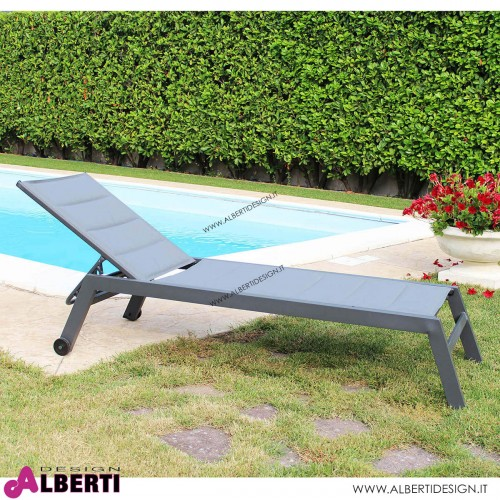 Lettino impilabile color antracite 198x61x34/95h cm