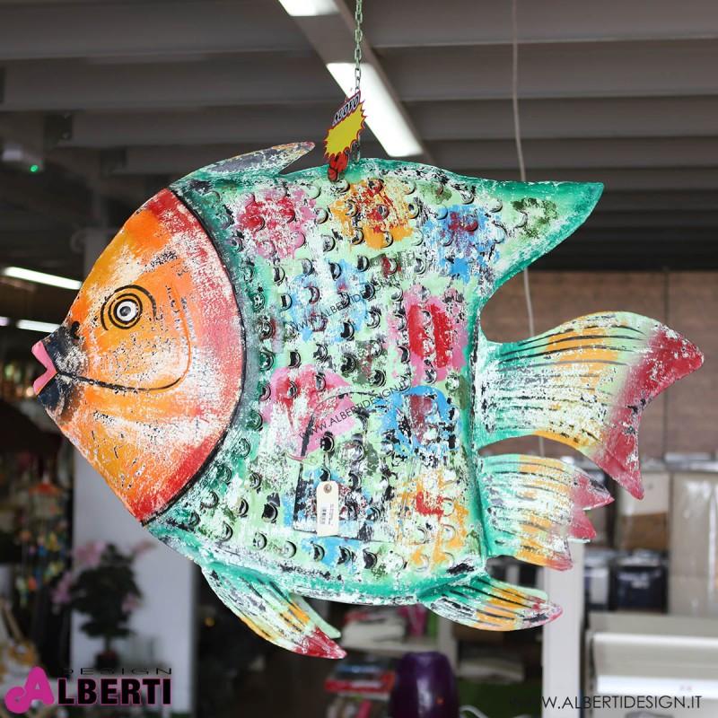 Pesce in ferro colorato L150x110x25 cm