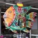 Pesce in ferro colorato 80x20x140 cm