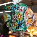 Pesce in ferro colorato 65x15xh100 cm