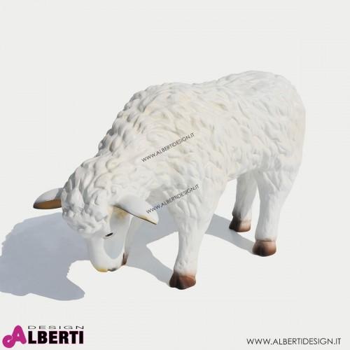 963 PLA55_a Pecora  bianca in piedi55x22x35