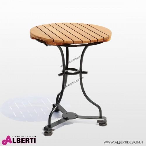 Tavolino rotondo in teak e ferro D45xH74 cm