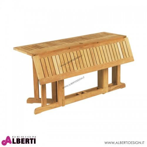 Tavolo rettangolare pieghevole in teak 150x80x75 cm