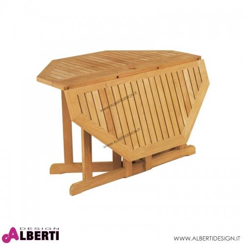 Tavolo ottagonale pieghevole in teak d120h74 cm
