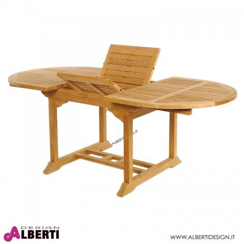 Tavolo ovale in teak allungabile 150-200x100h74 cm