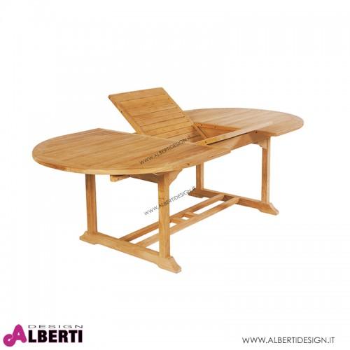 Tavolo ovale in teak con piano allungabile 180-240x120h74