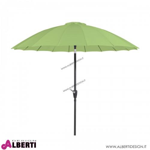 Ombrellone verde a raggiera con manovella D270xH230 cm