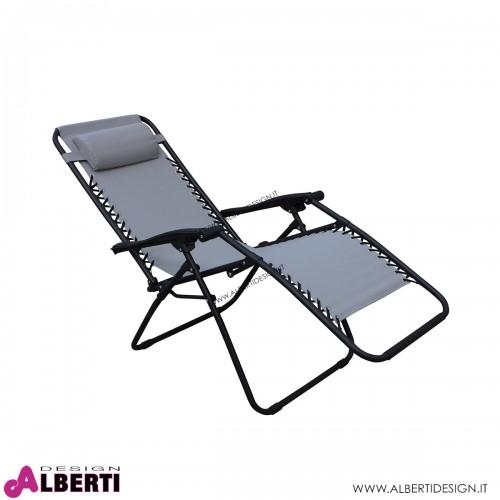 Sdraio nero/grigio metallo e textilene 65x88xH110 cm