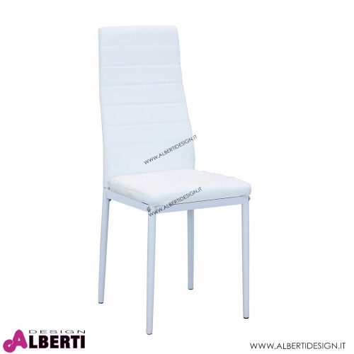 Sedia bianca metallo/ecopelle 53x46x97h cm