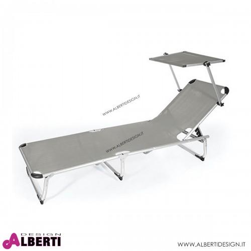 Lettino alluminio/textilene grigio 187x60x30 cm