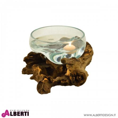 Portacandele vetro soffiato+legno D20xH15 cm