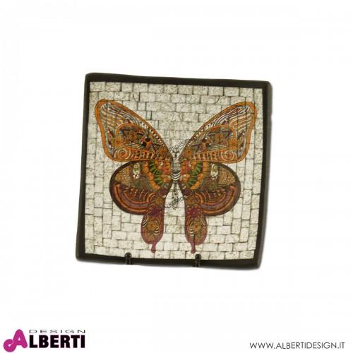 Vassoio in terracotta mosaico farfalla indiana 30x30cm