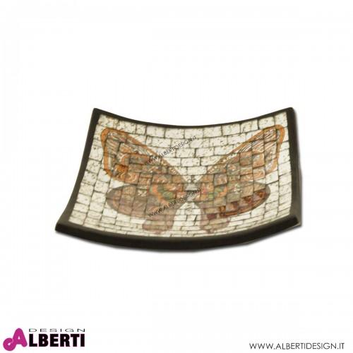 Vassoio in terracotta mosaico farfalla indiana 25x25cm