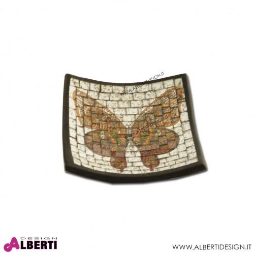 Vassoio in terracotta mosaico farfalla indiana 20x20cm