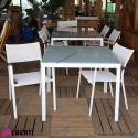Tavolo in alluminio bianco con vetro 90x90xH74 cm