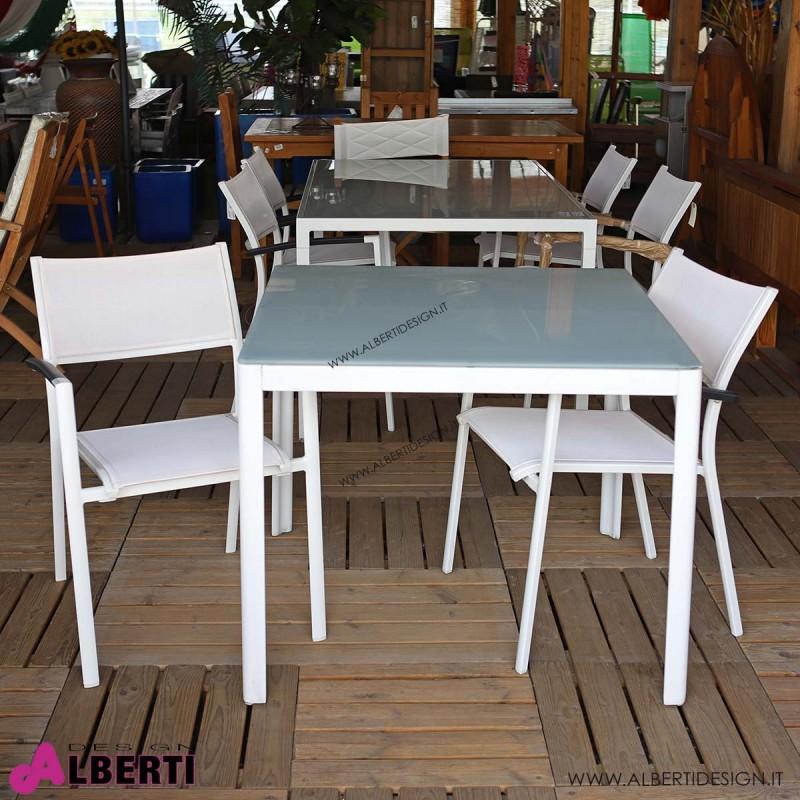 Tavolo Axel bianco con vetro 90x90xH74 cm