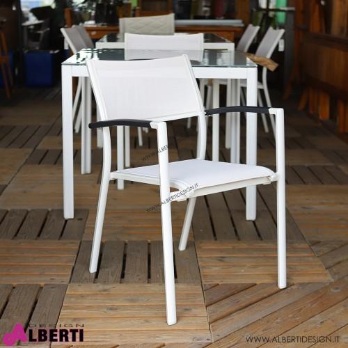 Poltrona bianca in alluminio e textilene 59x82xH55 cm