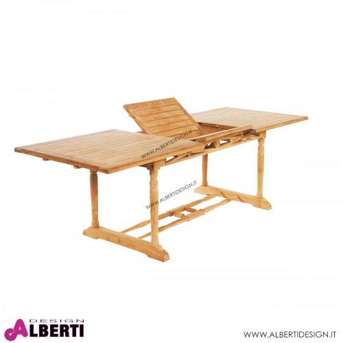 Tavolo rettangolare in teak con piano allungabile 180-240x90h74 cm