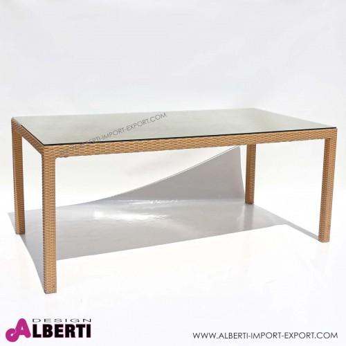 Tavolo 90x180 color quercia con ripiano in vetro