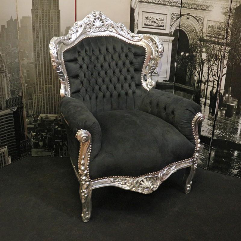 poltr marsigliaarg nero 83x83x115 barocco alberti design. Black Bedroom Furniture Sets. Home Design Ideas