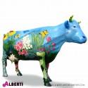 Mucca in piedi con girasole, fiori e farfalle  L250H153